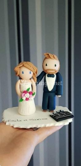 figurine gateau mariage ski