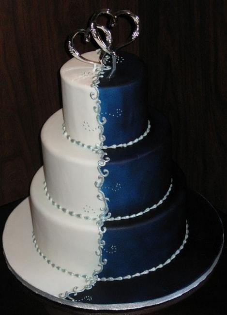 gateau mariage bleu et blanc