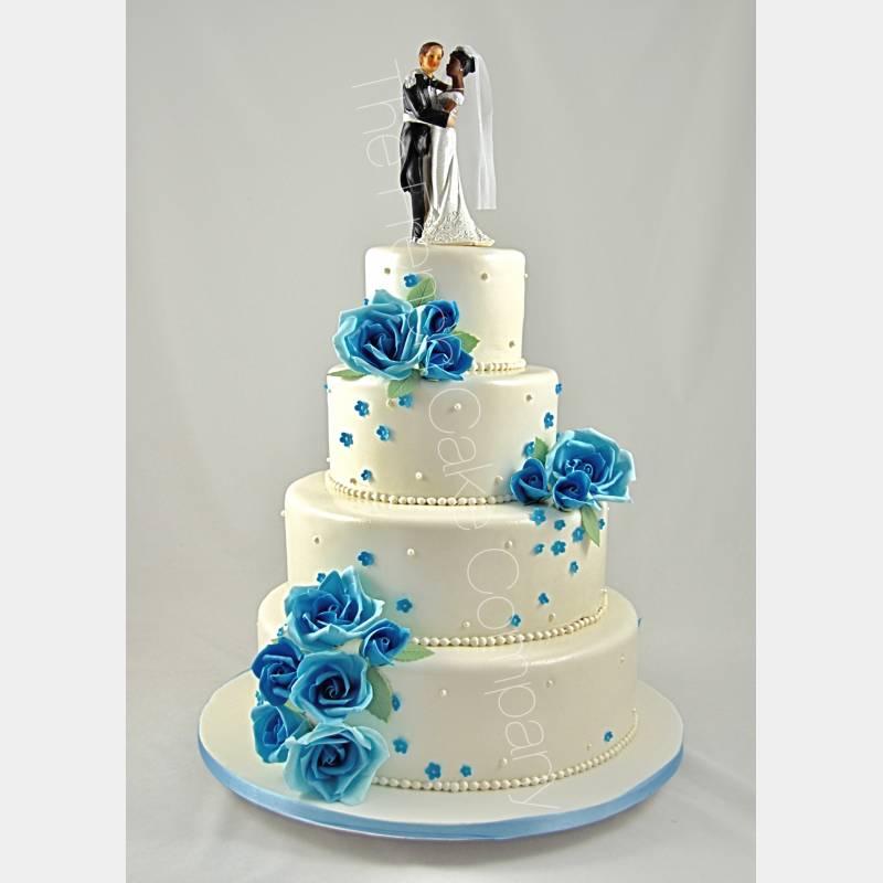 gateau mariage bleu roi