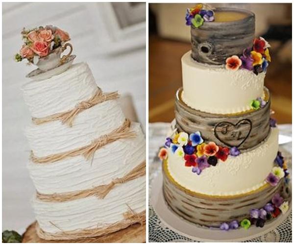 gateau mariage bois