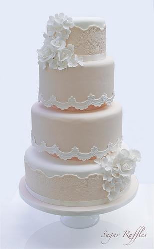 gateau mariage dentelle