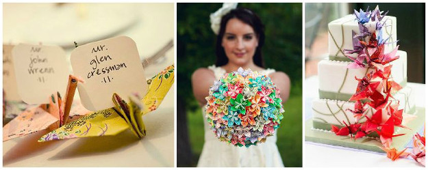 gateau mariage origami