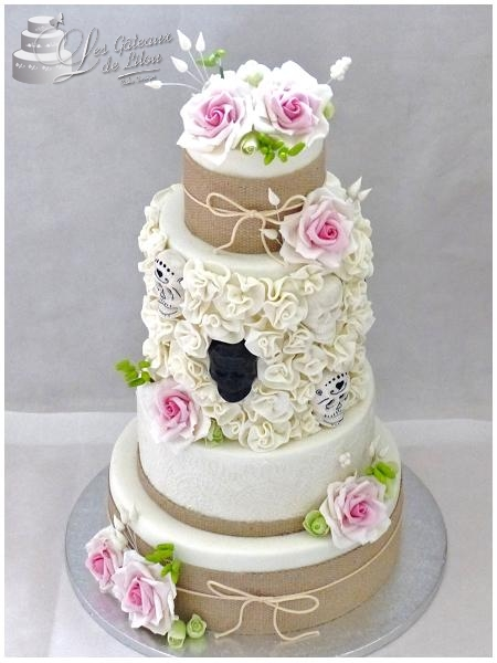 gateau mariage theme champetre
