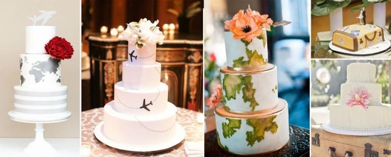 gateau mariage theme voyage