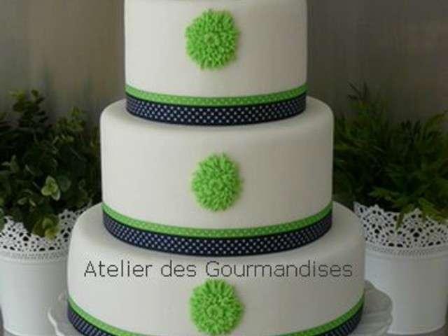 gateau mariage vert et blanc